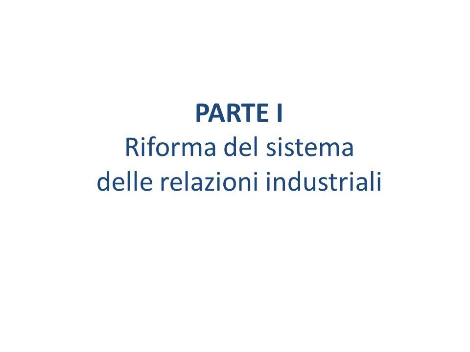 PARTE I Riforma del sistema delle relazioni industriali