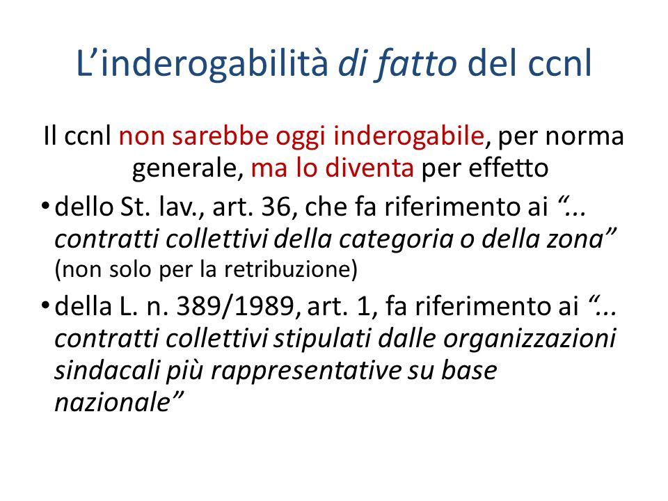 Linderogabilità di fatto del ccnl Il ccnl non sarebbe oggi inderogabile, per norma generale, ma lo diventa per effetto dello St.