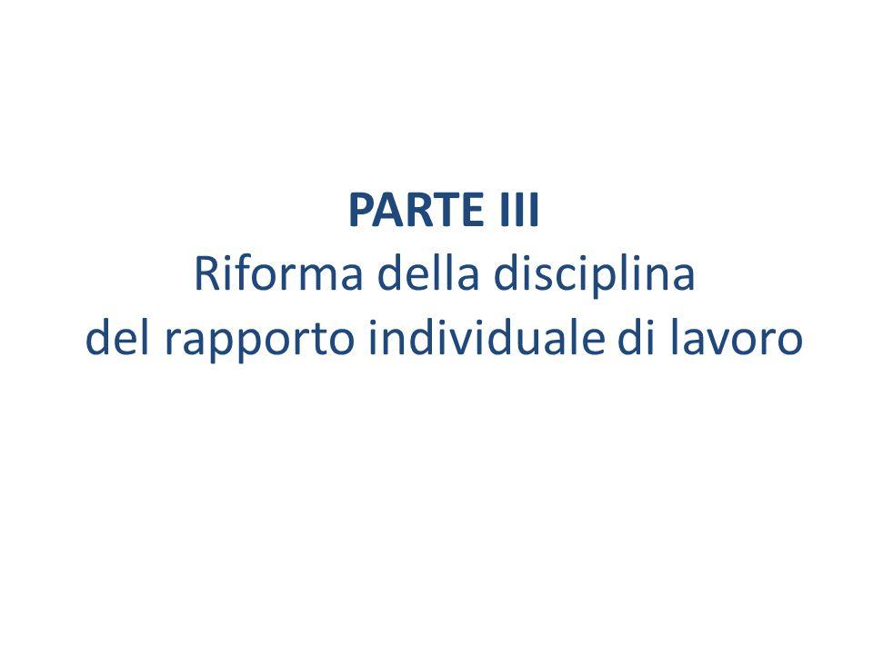 PARTE III Riforma della disciplina del rapporto individuale di lavoro