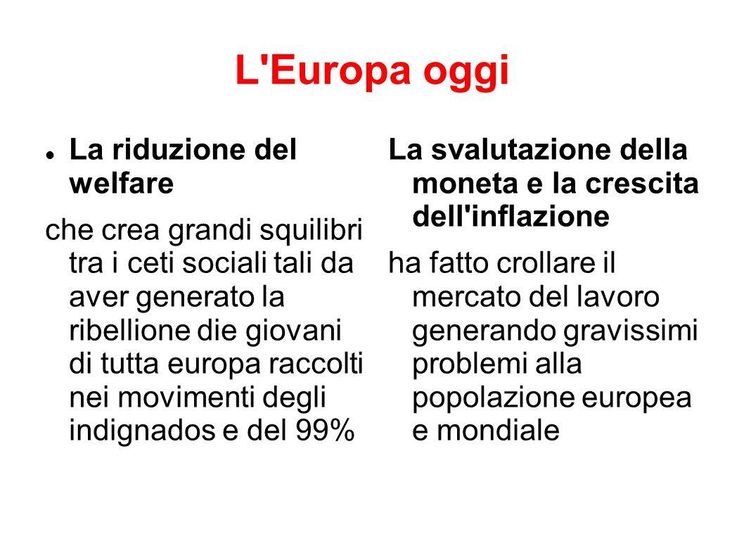 L'Europa oggi La riduzione del welfare che crea grandi squilibri tra i ceti sociali tali da aver generato la ribellione die giovani di tutta europa ra