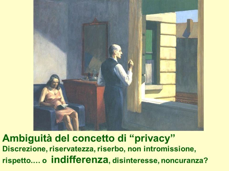 Ambiguità del concetto di privacy Discrezione, riservatezza, riserbo, non intromissione, rispetto.… o indifferenza, disinteresse, noncuranza?