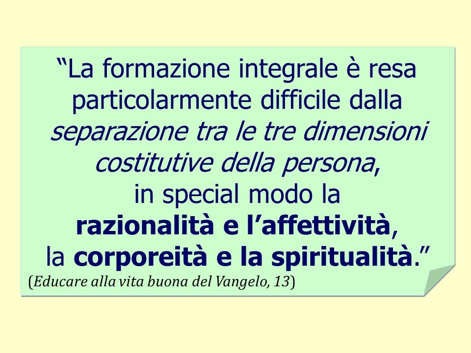 La formazione integrale è resa particolarmente difficile dalla separazione tra le tre dimensioni costitutive della persona, in special modo la raziona