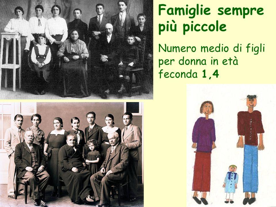 Famiglie sempre più piccole Numero medio di figli per donna in età feconda 1,4
