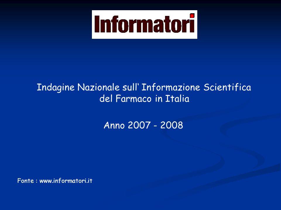 Indagine Nazionale sull Informazione Scientifica del Farmaco in Italia Fonte : www.informatori.it Anno 2007 - 2008