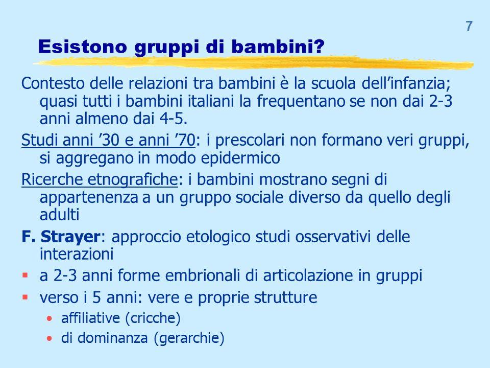 7 Esistono gruppi di bambini? Contesto delle relazioni tra bambini è la scuola dellinfanzia; quasi tutti i bambini italiani la frequentano se non dai