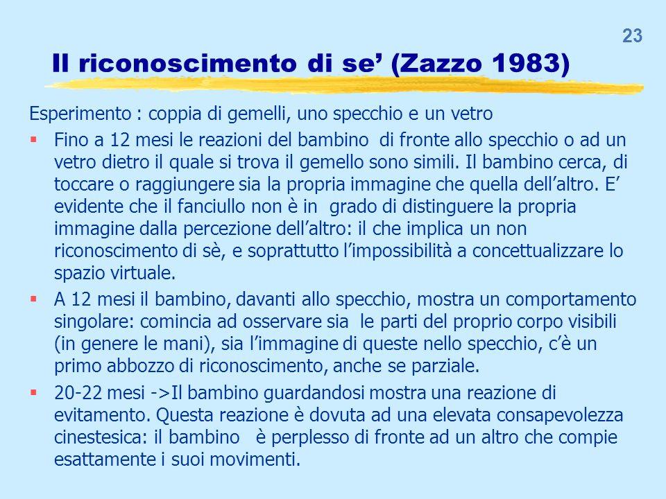 Il riconoscimento di se (Zazzo 1983) Esperimento : coppia di gemelli, uno specchio e un vetro Fino a 12 mesi le reazioni del bambino di fronte allo sp