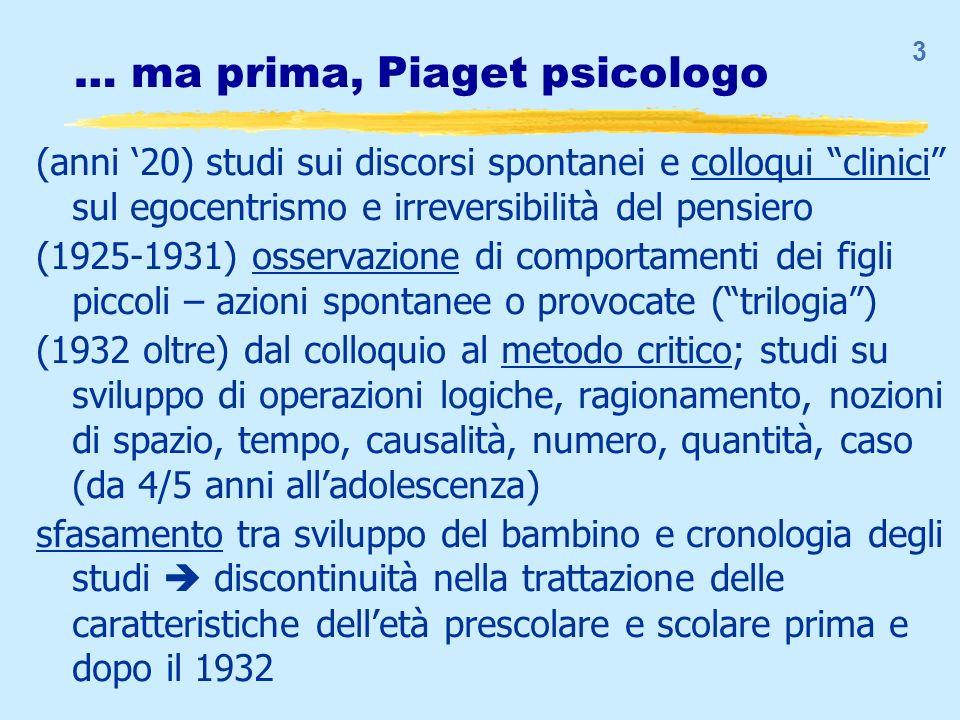 3 … ma prima, Piaget psicologo (anni 20) studi sui discorsi spontanei e colloqui clinici sul egocentrismo e irreversibilità del pensiero (1925-1931) o