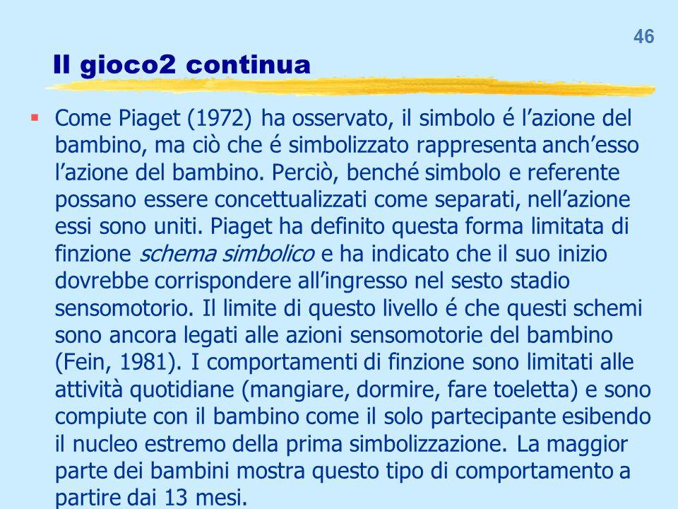 Il gioco2 continua Come Piaget (1972) ha osservato, il simbolo é lazione del bambino, ma ciò che é simbolizzato rappresenta anchesso lazione del bambi