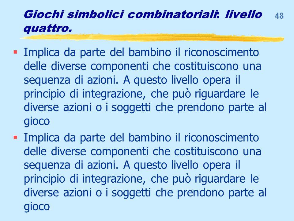 Giochi simbolici combinatoriali: livello quattro. Implica da parte del bambino il riconoscimento delle diverse componenti che costituiscono una sequen