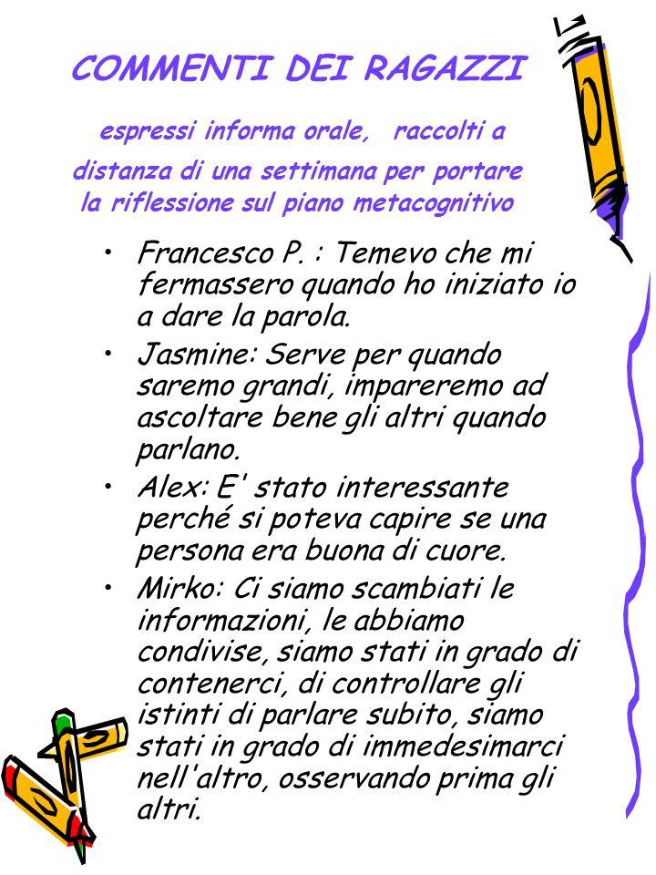 COMMENTI DEI RAGAZZI espressi informa orale, raccolti a distanza di una settimana per portare la riflessione sul piano metacognitivo Francesco P. : Te