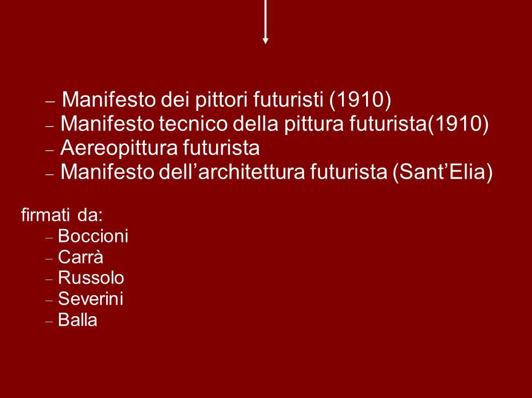 Manifesto dei pittori futuristi (1910) Manifesto tecnico della pittura futurista(1910) Aereopittura futurista Manifesto dellarchitettura futurista (SantElia) firmati da: Boccioni Carrà Russolo Severini Balla