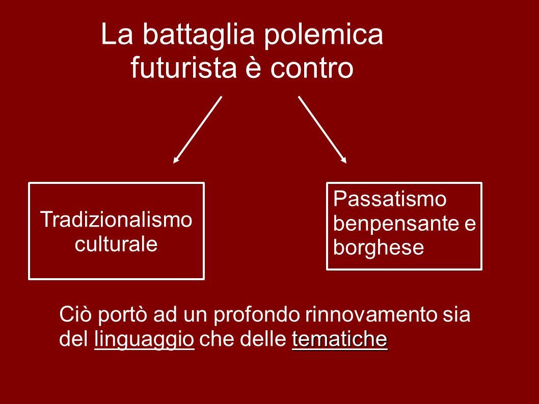 La battaglia polemica futurista è contro Tradizionalismo culturale Passatismo benpensante e borghese Ciò portò ad un profondo rinnovamento sia tematiche del linguaggio che delle tematiche
