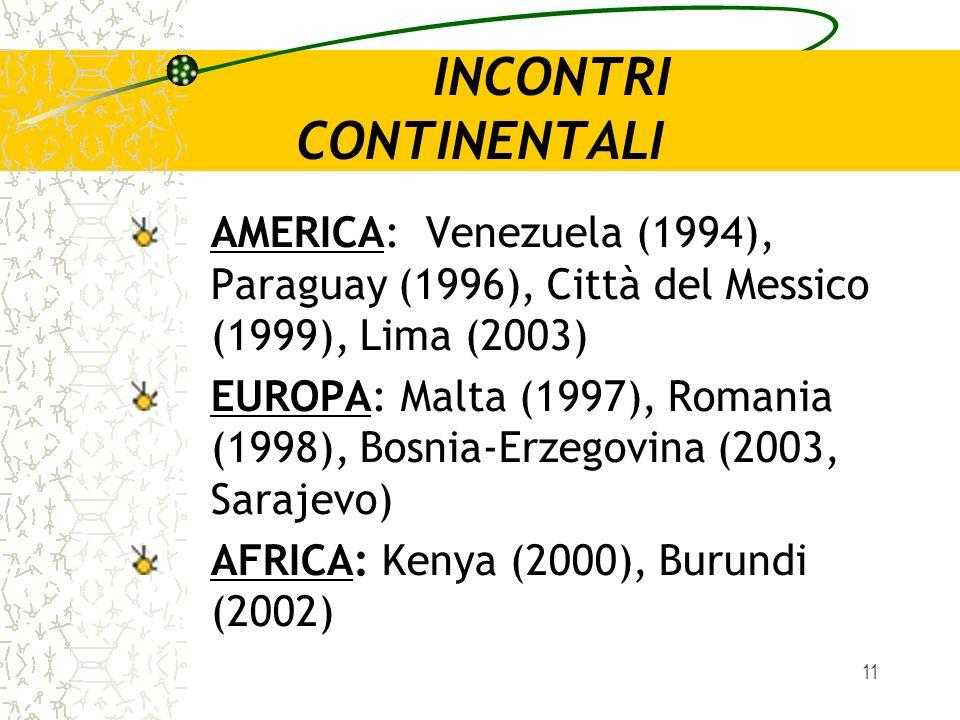 11 INCONTRI CONTINENTALI AMERICA: Venezuela (1994), Paraguay (1996), Città del Messico (1999), Lima (2003) EUROPA: Malta (1997), Romania (1998), Bosni