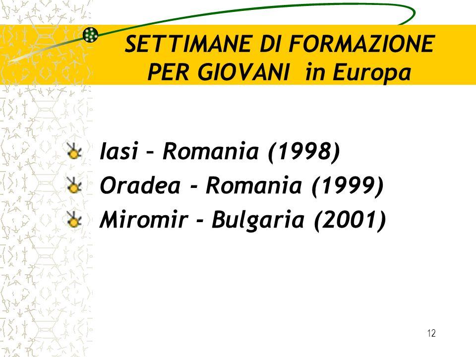 12 SETTIMANE DI FORMAZIONE PER GIOVANI in Europa Iasi – Romania (1998) Oradea - Romania (1999) Miromir - Bulgaria (2001)