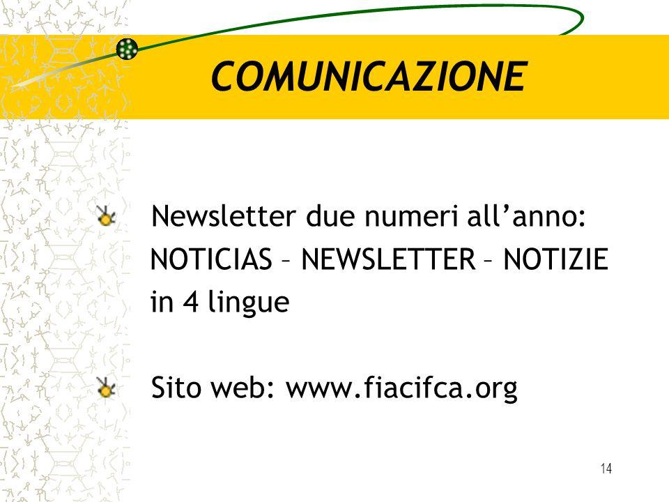 14 COMUNICAZIONE Newsletter due numeri allanno: NOTICIAS – NEWSLETTER – NOTIZIE in 4 lingue Sito web: www.fiacifca.org