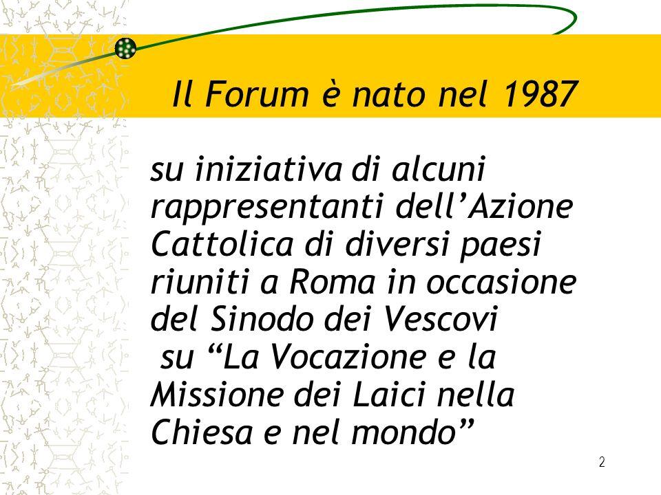 2 Il Forum è nato nel 1987 su iniziativa di alcuni rappresentanti dellAzione Cattolica di diversi paesi riuniti a Roma in occasione del Sinodo dei Ves