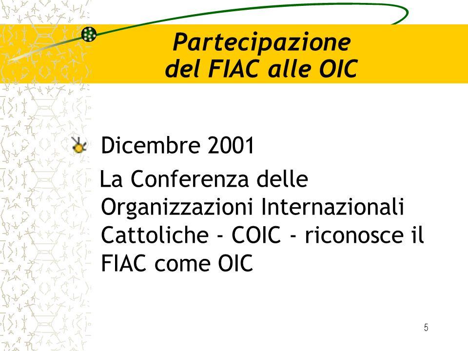 5 Partecipazione del FIAC alle OIC Dicembre 2001 La Conferenza delle Organizzazioni Internazionali Cattoliche - COIC - riconosce il FIAC come OIC