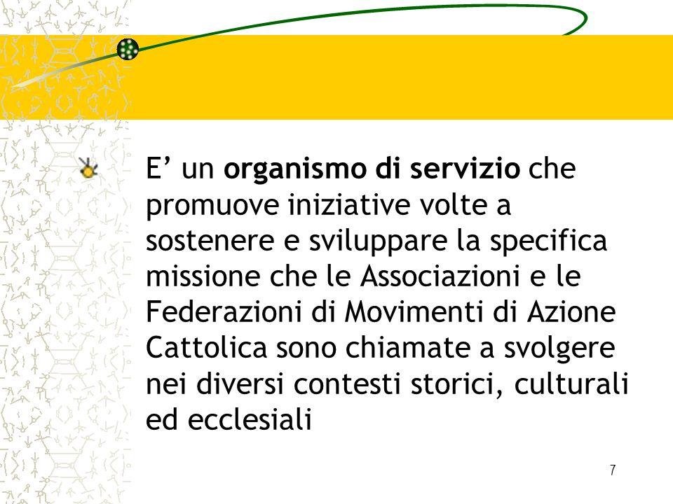 7 E un organismo di servizio che promuove iniziative volte a sostenere e sviluppare la specifica missione che le Associazioni e le Federazioni di Movi