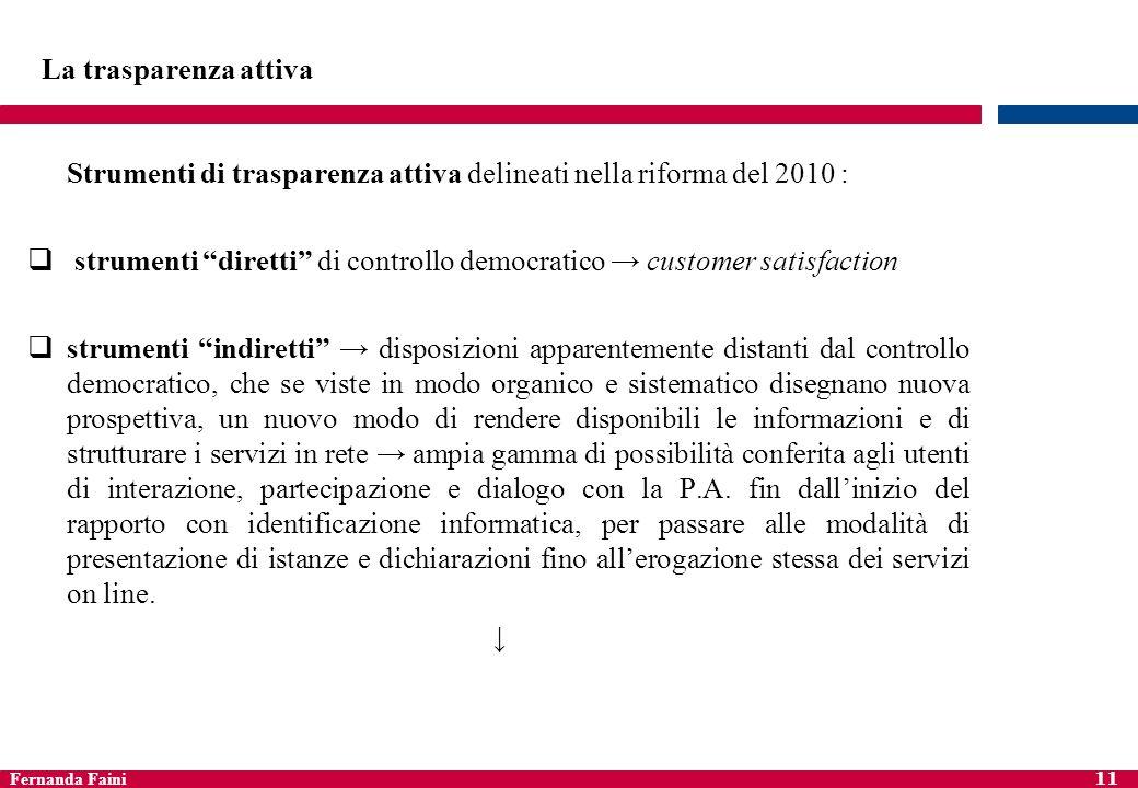Fernanda Faini 11 La trasparenza attiva Strumenti di trasparenza attiva delineati nella riforma del 2010 : strumenti diretti di controllo democratico