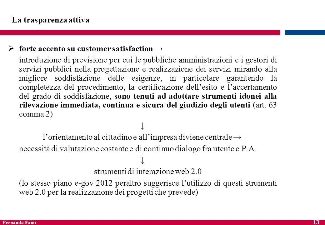 Fernanda Faini 13 La trasparenza attiva forte accento su customer satisfaction introduzione di previsione per cui le pubbliche amministrazioni e i ges