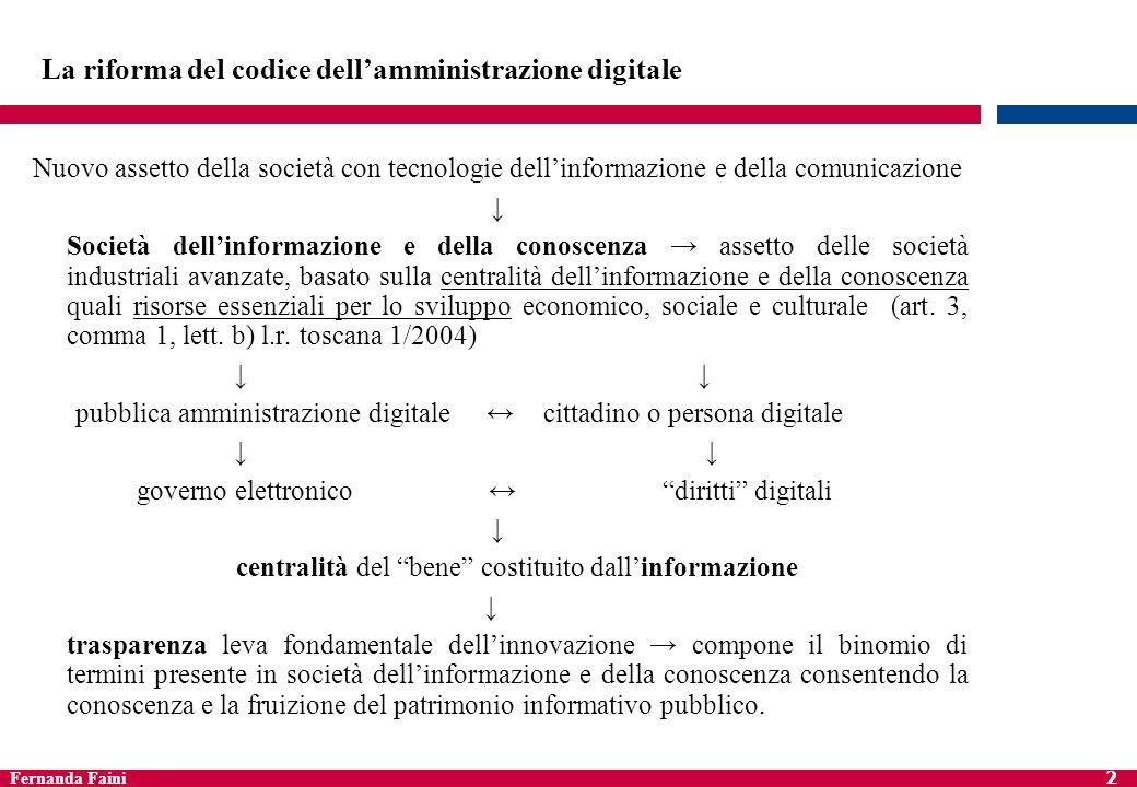 Fernanda Faini 2 La riforma del codice dellamministrazione digitale Nuovo assetto della società con tecnologie dellinformazione e della comunicazione
