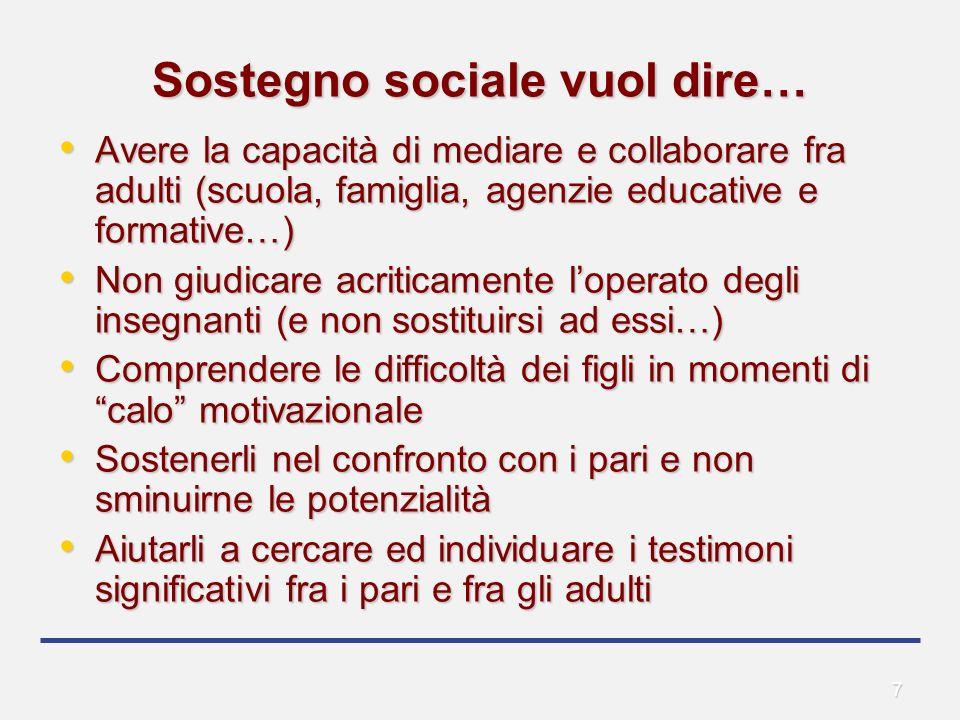 7 Sostegno sociale vuol dire… Avere la capacità di mediare e collaborare fra adulti (scuola, famiglia, agenzie educative e formative…) Avere la capaci