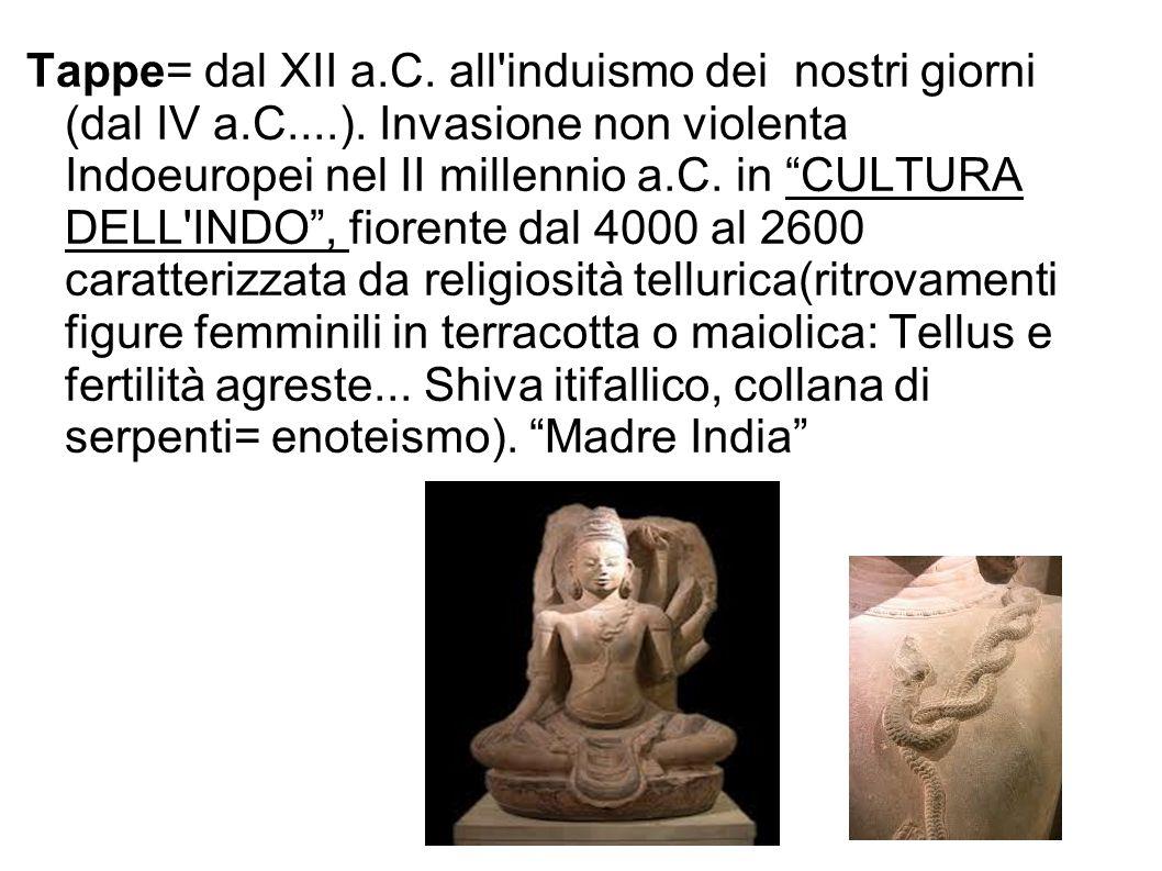 Tappe= dal XII a.C. all'induismo dei nostri giorni (dal IV a.C....). Invasione non violenta Indoeuropei nel II millennio a.C. in CULTURA DELL'INDO, fi