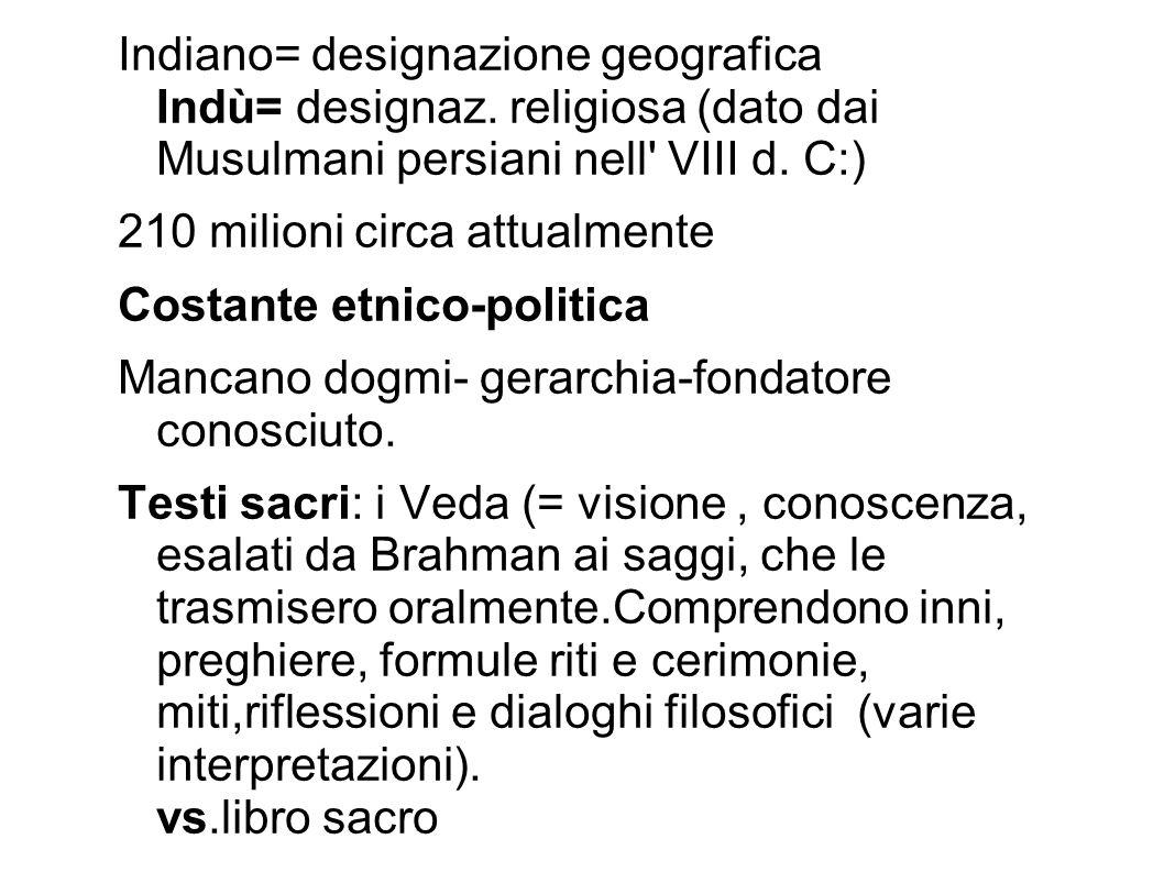 Indiano= designazione geografica Indù= designaz. religiosa (dato dai Musulmani persiani nell' VIII d. C:) 210 milioni circa attualmente Costante etnic