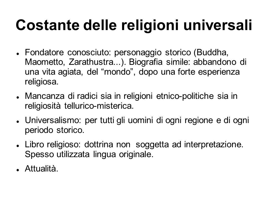 Costante delle religioni universali Fondatore conosciuto: personaggio storico (Buddha, Maometto, Zarathustra...). Biografia simile: abbandono di una v