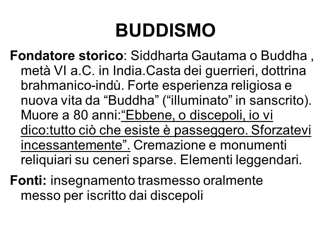 BUDDISMO Fondatore storico: Siddharta Gautama o Buddha, metà VI a.C. in India.Casta dei guerrieri, dottrina brahmanico-indù. Forte esperienza religios