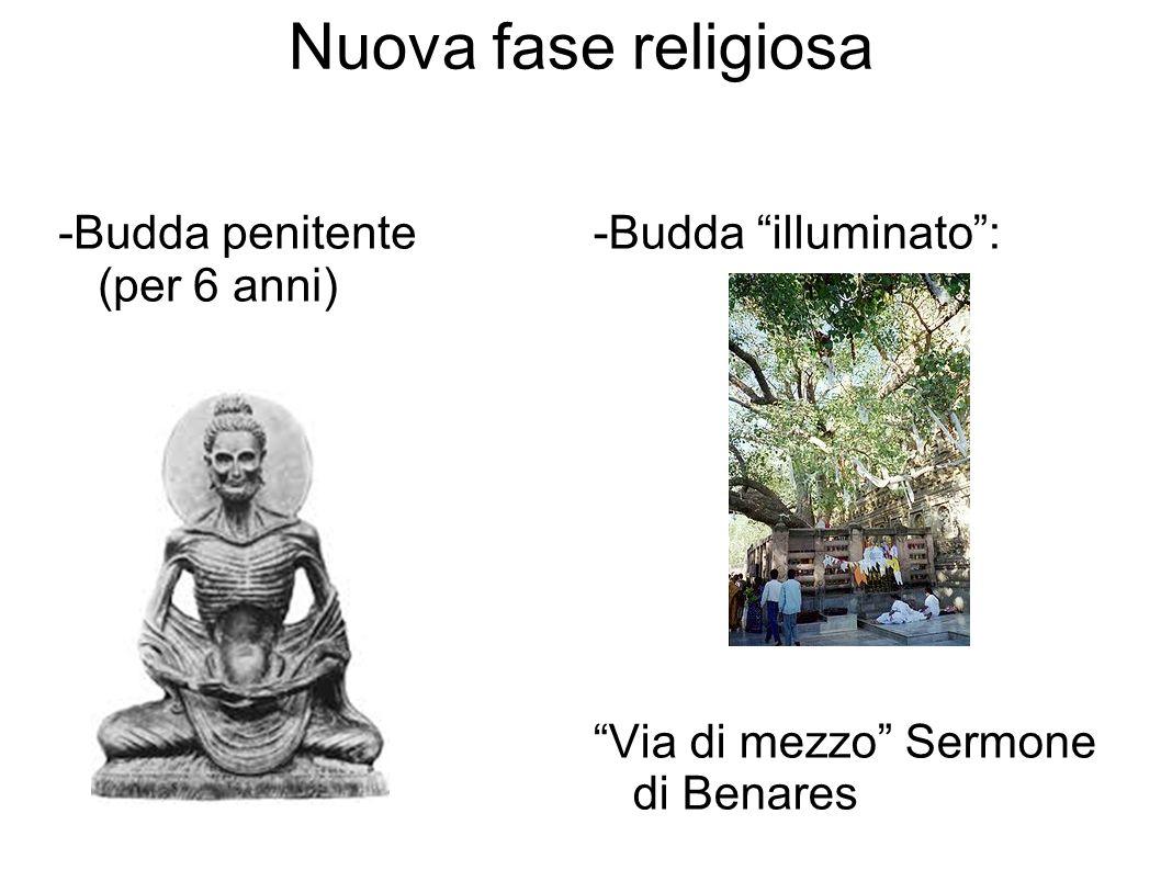 Nuova fase religiosa -Budda penitente (per 6 anni) -Budda illuminato: Via di mezzo Sermone di Benares