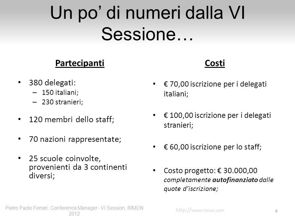 Un po di numeri dalla VI Sessione… Partecipanti 380 delegati: – 150 italiani; – 230 stranieri; 120 membri dello staff; 70 nazioni rappresentate; 25 sc