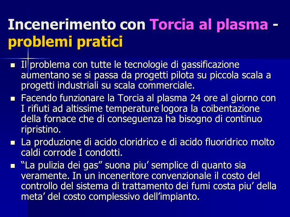Incenerimento con Torcia al plasma - problemi pratici Il problema con tutte le tecnologie di gassificazione aumentano se si passa da progetti pilota s