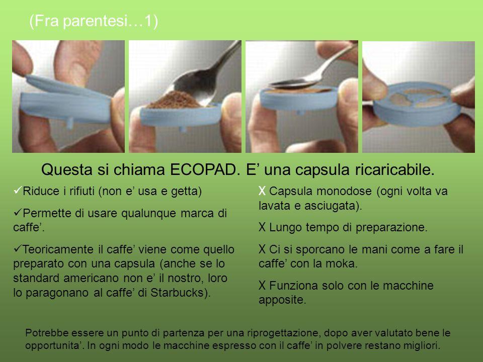Questa si chiama ECOPAD. E una capsula ricaricabile.
