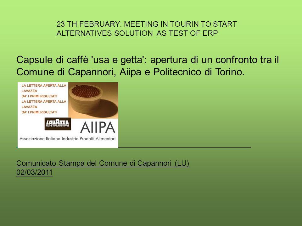 Capsule di caffè usa e getta : apertura di un confronto tra il Comune di Capannori, Aiipa e Politecnico di Torino.