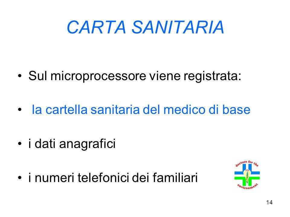 14 CARTA SANITARIA Sul microprocessore viene registrata: la cartella sanitaria del medico di base i dati anagrafici i numeri telefonici dei familiari