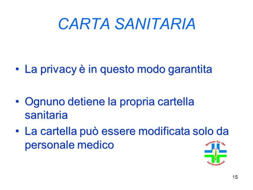 15 CARTA SANITARIA La privacy è in questo modo garantitaLa privacy è in questo modo garantita Ognuno detiene la propria cartella sanitariaOgnuno detiene la propria cartella sanitaria La cartella può essere modificata solo da personale medicoLa cartella può essere modificata solo da personale medico
