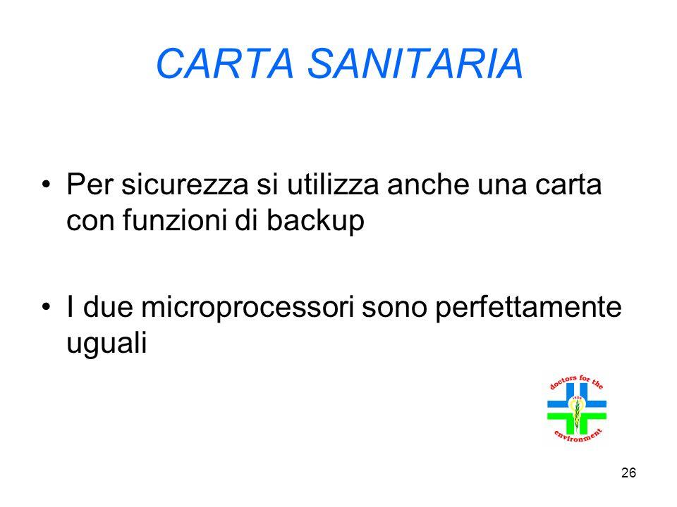 26 CARTA SANITARIA Per sicurezza si utilizza anche una carta con funzioni di backup I due microprocessori sono perfettamente uguali