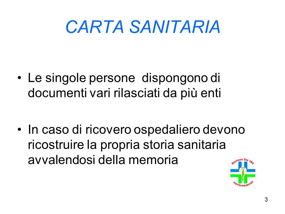 3 CARTA SANITARIA Le singole persone dispongono di documenti vari rilasciati da più enti In caso di ricovero ospedaliero devono ricostruire la propria storia sanitaria avvalendosi della memoria