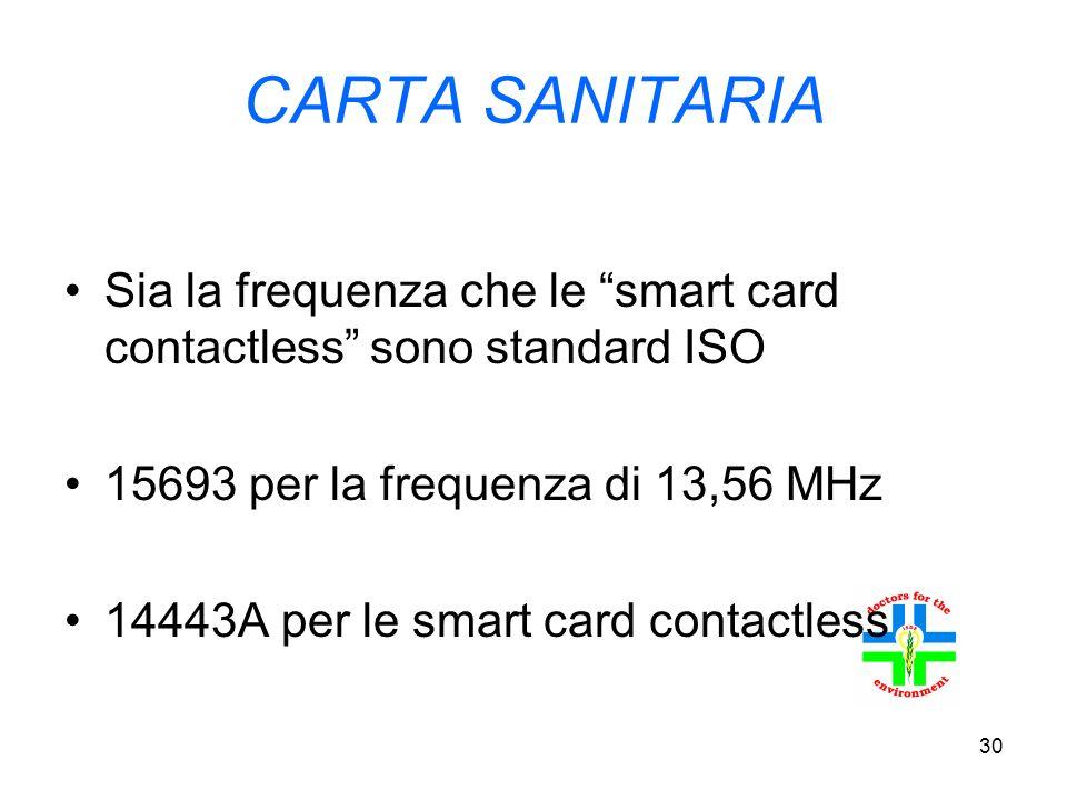 30 CARTA SANITARIA Sia la frequenza che le smart card contactless sono standard ISO 15693 per la frequenza di 13,56 MHz 14443A per le smart card contactless