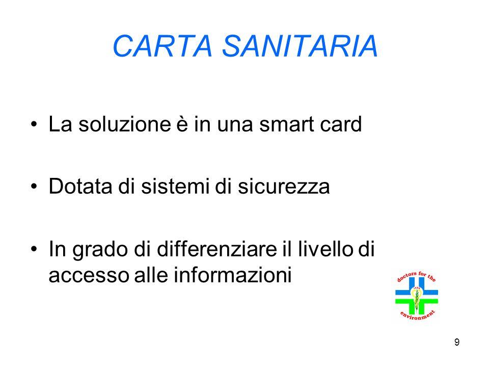 9 CARTA SANITARIA La soluzione è in una smart card Dotata di sistemi di sicurezza In grado di differenziare il livello di accesso alle informazioni