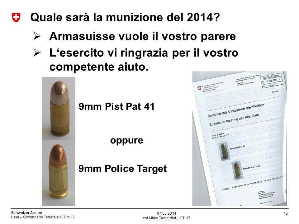 15 Schweizer Armee Heer – Circondario Federale di Tiro 17 Quale sarà la munizione del 2014? Armasuisse vuole il vostro parere Lesercito vi ringrazia p