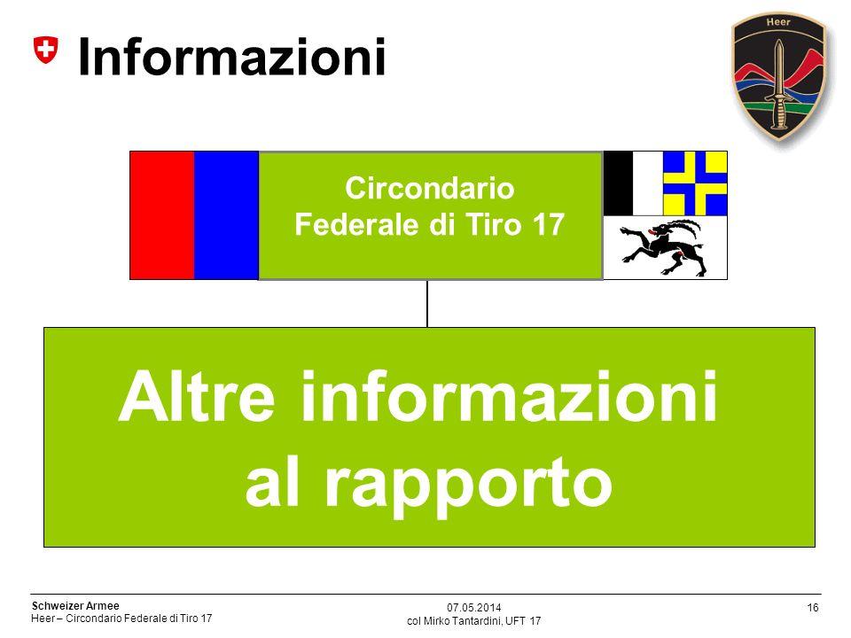 16 Schweizer Armee Heer – Circondario Federale di Tiro 17 col Mirko Tantardini, UFT 17 Altre informazioni al rapporto Circondario Federale di Tiro 17 Informazioni 07.05.2014
