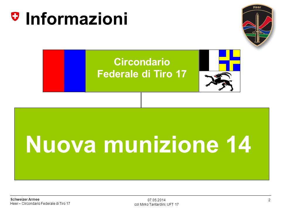13 Schweizer Armee Heer – Circondario Federale di Tiro 17 col Mirko Tantardini, UFT 17 07.05.2014 Temi del questionario Quanti disturbi di ricarica si sono costatati.