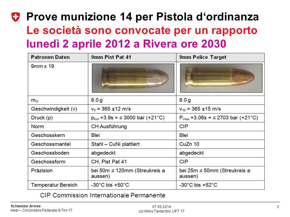 4 Schweizer Armee Heer – Circondario Federale di Tiro 17 col Mirko Tantardini, UFT 17 07.05.2014 Informazioni La munizione 14 è una nuova cartuccia per pistole 9mm della generazione Police Target.