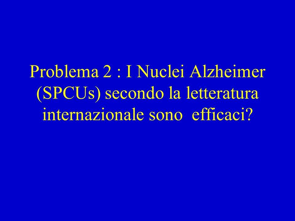Le Special Care Units, Nuclei Alzheimer RSA Si sviluppano a partire dagli anni 80 negli USA (ora sono oltre il 20% dei pl) e in Canada.