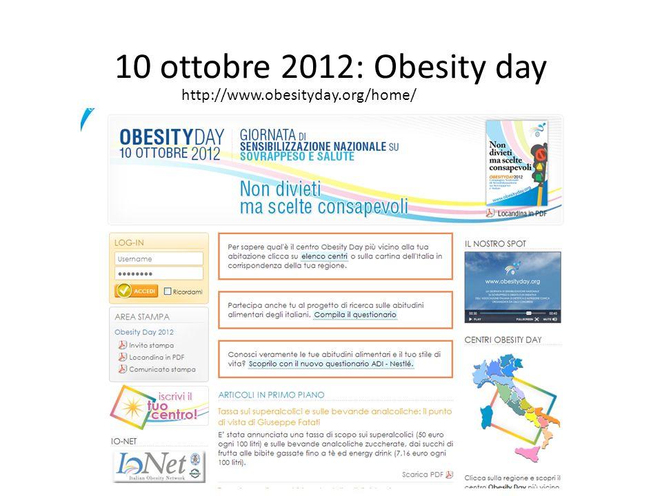 10 ottobre 2012: Obesity day http://www.obesityday.org/home/