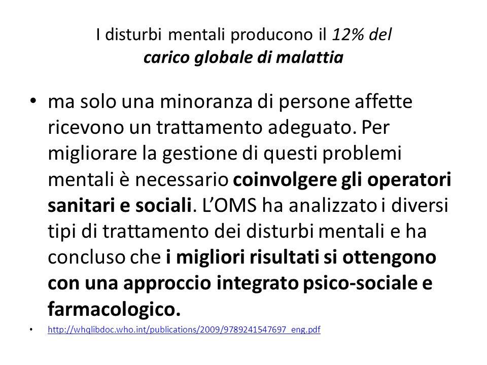 I disturbi mentali producono il 12% del carico globale di malattia ma solo una minoranza di persone affette ricevono un trattamento adeguato. Per migl