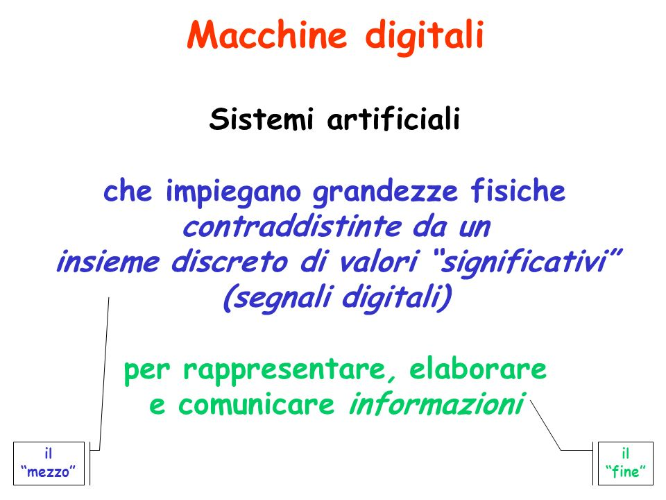Macchine digitali Sistemi artificiali che impiegano grandezze fisiche contraddistinte da un insieme discreto di valori significativi (segnali digitali) per rappresentare, elaborare e comunicare informazioni il mezzo il fine