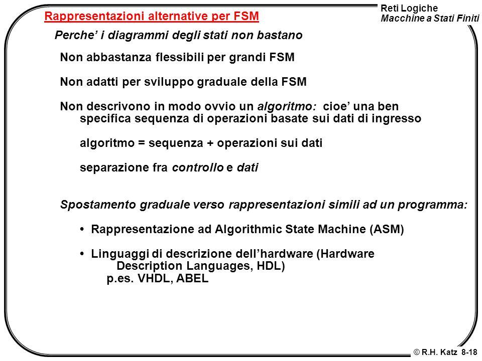 Reti Logiche Macchine a Stati Finiti © R.H. Katz 8-18 Rappresentazioni alternative per FSM Perche i diagrammi degli stati non bastano Non abbastanza f